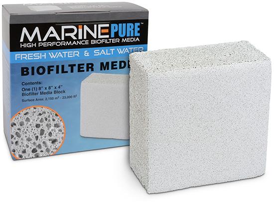 "CerMedia MarinePure Block Bio-Filter Media for Marine and Freshwater Aquariums, 8"" x 8"" x 4"""