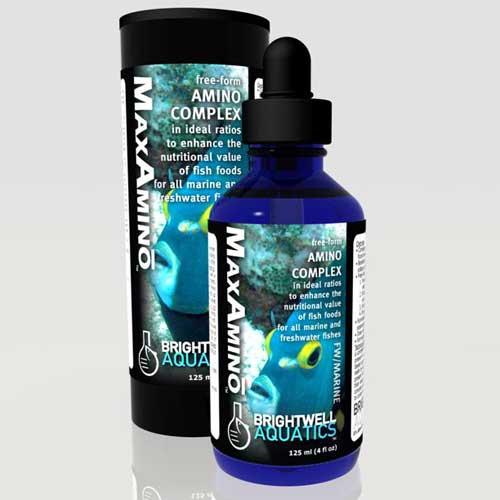 Brightwell Aquatics MaxAmino Free-Form Amino Complex for Enhancing Fish Foods 125 ml / 4 fl. oz.